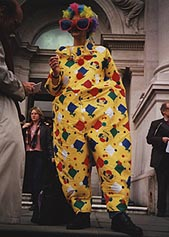 Stuckist Clown Non-Demo, 28 November 2000, at Tate Britain, the day of the Turner Prize announcement.  We ... took the opportunity to award the Anti Turner Prize Prize to the Art Clown of the Year for outstanding idiocy in the visual arts.  This was awarded to Charles Saatchi and was a pie to put in his own face.  He also had to buy the pie as we forgot to get one.